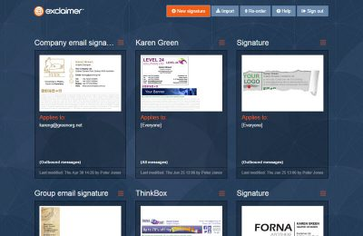 Screenshot E-Mail Signatur exclaimer cloud signature Benutzeroberfläche